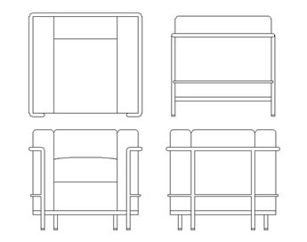 Blockdown bloques 2d y 3d de mobiliario de le corbusier - Mobiliario le corbusier ...